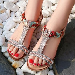 Women's Rhinestone Heels Wedge Heel Sandals_3