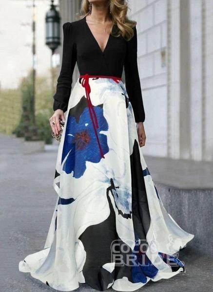 Black Casual Floral Sashes V-Neckline X-line Dress_2