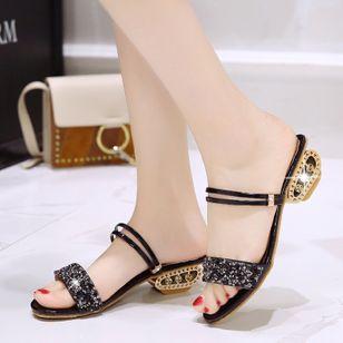 Women's Rhinestone Heels Chunky Heel Sandals_5
