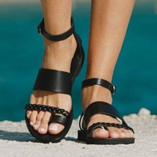 Women's Buckle Toe Ring Flat Heel Sandals_2