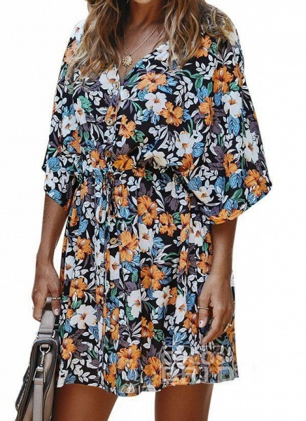 Yellow Plus Size Floral V-Neckline Casual Ruffles Above Knee Plus Dress_3