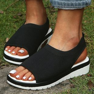 Women's Slingbacks Fabric Wedge Heel Sandals_5
