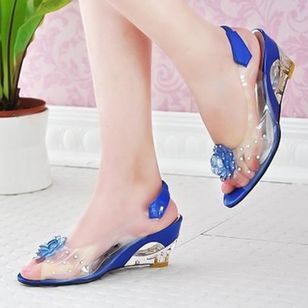 Women's Flower Slingbacks Patent Leather Wedge Heel Sandals_1