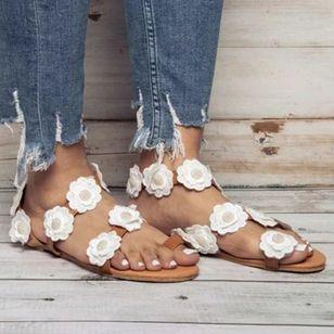 Women's Flower Toe Ring Cloth Flat Heel Sandals_2