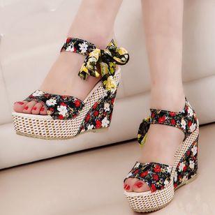 Women's Bowknot Heels Silk Like Satin Wedge Heel Sandals_5