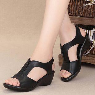 Women's Zipper Peep Toe Low Heel Sandals_3