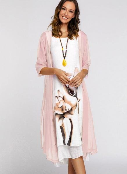 Floral Wrap Round Neckline Midi X-line Dress_9