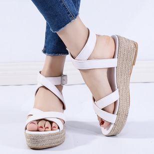 Women's Buckle Slingbacks Nubuck Low Heel Sandals Platforms_2