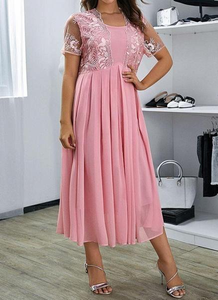 Pink Plus Size Floral V-Neckline Casual Ruffles Maxi Plus Dress_1