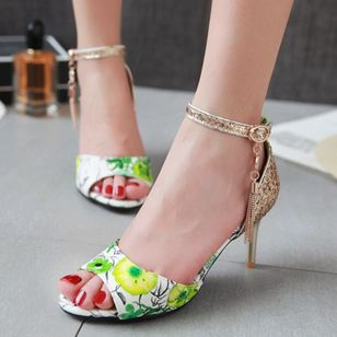 Women's Beading Buckle Heels Leatherette Stiletto Heel Sandals_8
