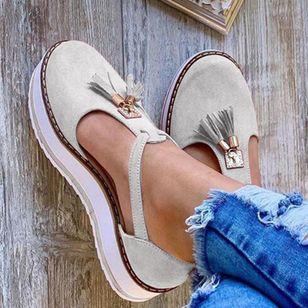 Women's Tassel Closed Toe Flat Heel Sandals_5
