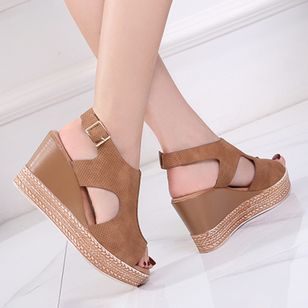 Women's Buckle Peep Toe Slingbacks Wedge Heel Sandals_1