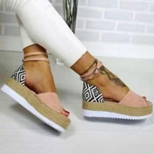 Women's Buckle Flats Cloth Flat Heel Sandals Platforms_3