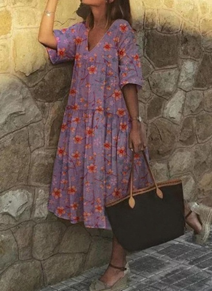 Casual Floral Tunic V-Neckline A-line Dress_4