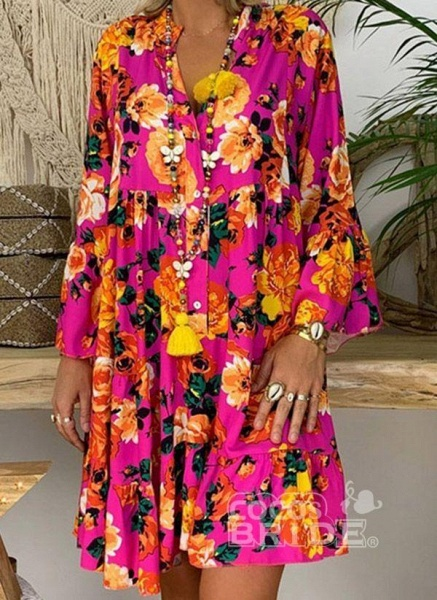 Rose Plus Size Tunic Floral V-Neckline Casual Buttons Plus Dress_2