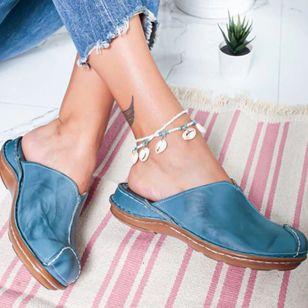 Women's Split Joint Closed Toe Round Toe Slingbacks Flat Heel Sandals_2