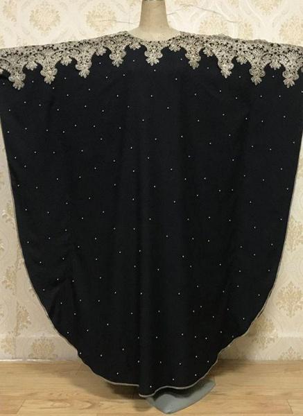 Black Plus Size Tunic Color Block Round Neckline Casual Rhinestones Plus Dress_1