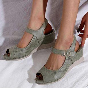 Women's Buckle Hollow-out Peep Toe Slingbacks Wedge Heel Sandals_4
