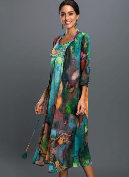 Arabian Floral Wrap Tunic A-line Dress_1