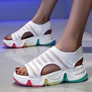 Women's Round Toe Fabric Flat Heel Sandals_3