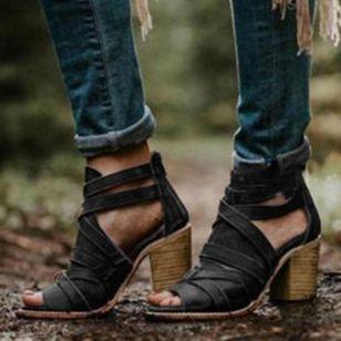 Women's Buckle Zipper Heels Chunky Heel Sandals_4