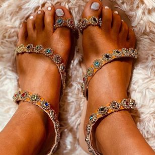 Women's Rhinestone Toe Ring Flat Heel Sandals_2