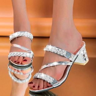 Women's Crystal Slingbacks Chunky Heel Sandals_3