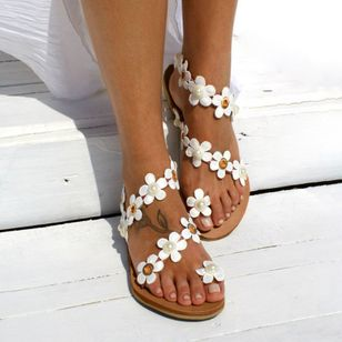 Women's Imitation Pearl Flower Toe Ring Flat Heel Sandals_2