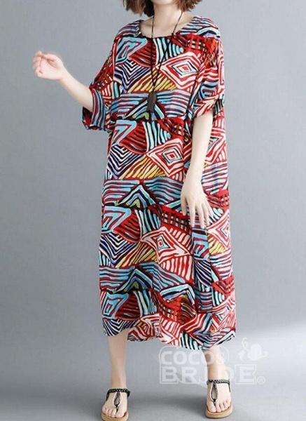 Red Plus Size Tunic Color Block Round Neckline Casual Pockets Plus Dress_3