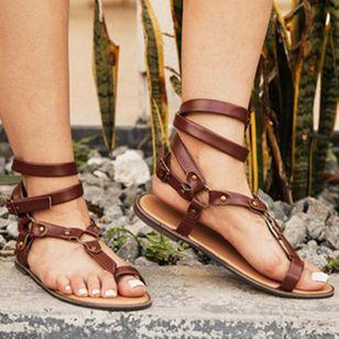 Women's Leopard Buckle Toe Ring Flat Heel Sandals_1