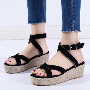 Women's Buckle Slingbacks Nubuck Low Heel Sandals Platforms_4