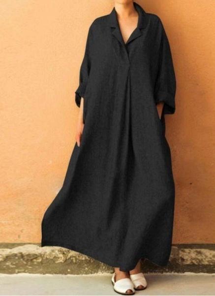 Black Plus Size Solid Collar Casual Maxi A-line Dress Plus Dress_1