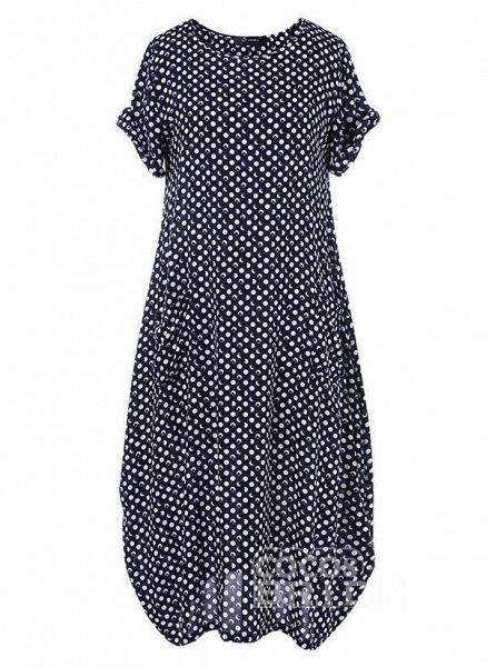 Dark Blue Tunic Polka Dot Round Neckline Casual Midi Plus Dress_5