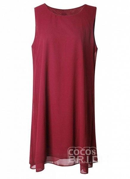 Burgundy Plus Size Solid Round Neckline Elegant Knee-Length Shift Dress Plus Dress_4
