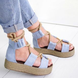 Women's Lace-up Flats Cloth Flat Heel Sandals_4