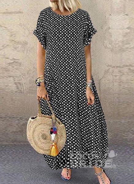 Dark Blue Tunic Polka Dot Round Neckline Casual Midi Plus Dress_8