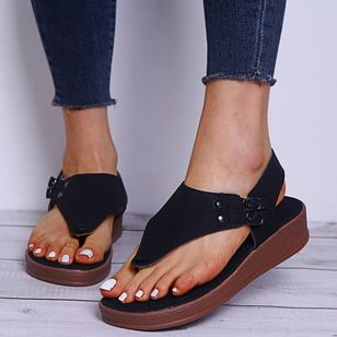 Women's Buckle Flip-Flops Flat Heel Sandals Platforms_9