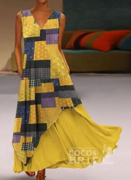 Yellow Casual Geometric Tunic V-Neckline A-line Dress_5