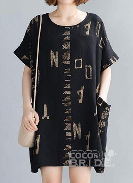 Black Plus Size Tunic Geometric Round Neckline Casual Pockets Plus Dress_5