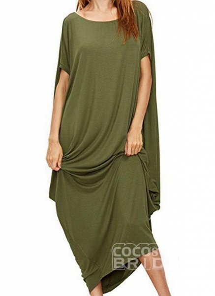Black Plus Size Tunic Solid Round Neckline Casual Maxi Plus Dress_5