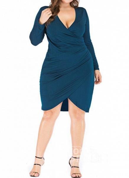 Black Plus Size Pencil Solid V-Neckline Casual Knee-Length Plus Dress_4