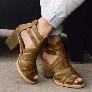 Women's Buckle Zipper Heels Chunky Heel Sandals_3