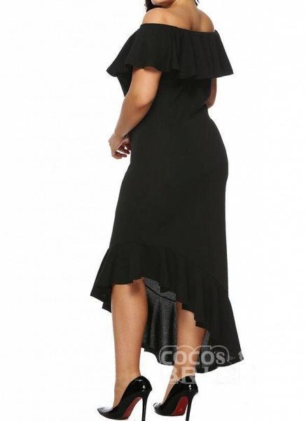 Black Plus Size Pencil Solid Off the Shoulder Elegant Ruffles Plus Dress_2