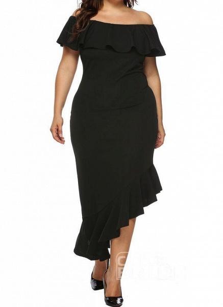 Black Plus Size Pencil Solid Off the Shoulder Elegant Ruffles Plus Dress_6