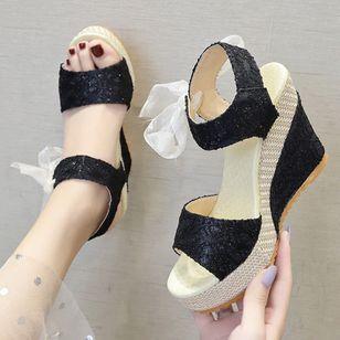 Women's Geometric Lace-up Heels Cloth Wedge Heel Sandals_7