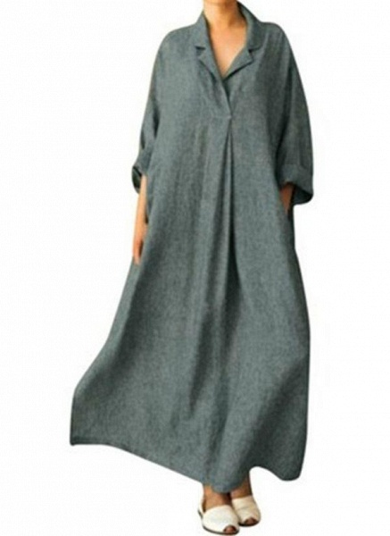 Gray Arabian Solid Tunic Collar Shift Dress