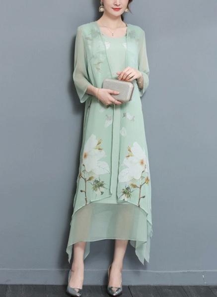 Floral Wrap Round Neckline Maxi A-line Dress_3