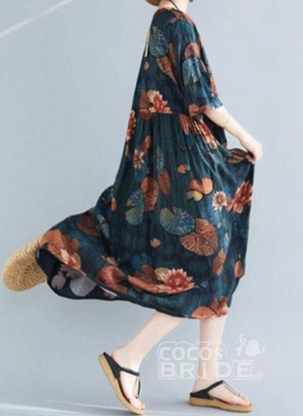 Dark Green Plus Size Tunic Floral V-Neckline Casual Midi Plus Dress_4