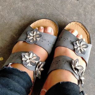 Women's Flower Slingbacks Wedge Heel Sandals_3