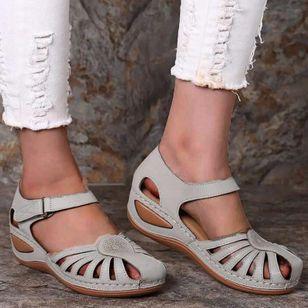 Women's Round Toe Wedge Heel Sandals_7